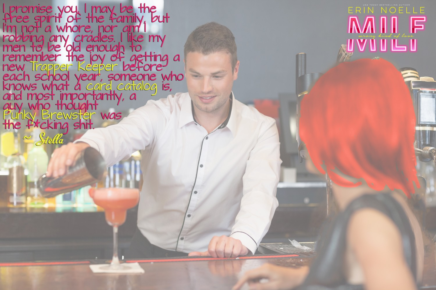 Handsome bartender serving cocktail to gorgeous woman in a classy bar